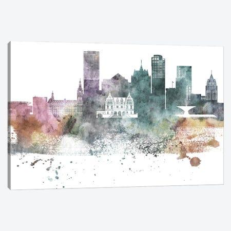 Milwaukee Pastel Skylines Canvas Print #WDA265} by WallDecorAddict Canvas Wall Art