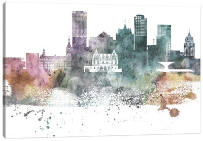 Milwaukee Pastel Skylines Canvas Art Print