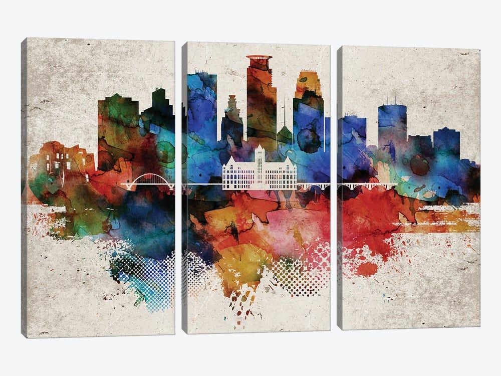 Minneapolis Abstract by WallDecorAddict 3-piece Canvas Artwork