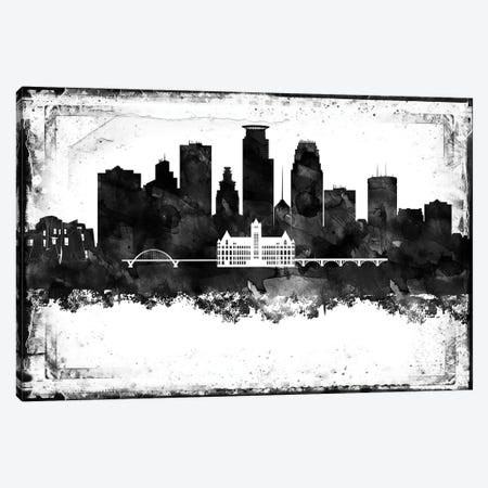 Minneapolis Black And White Framed Skylines Canvas Print #WDA267} by WallDecorAddict Canvas Art