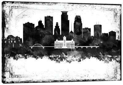 Minneapolis Black And White Framed Skylines Canvas Art Print