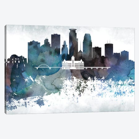 Minneapolis Bluish Skylines Canvas Print #WDA268} by WallDecorAddict Canvas Art Print