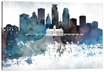 Minneapolis Bluish Skylines Canvas Art Print