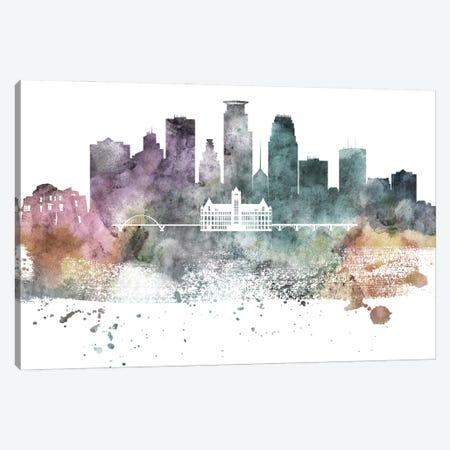 Minneapolis Pastel Skylines Canvas Print #WDA269} by WallDecorAddict Art Print