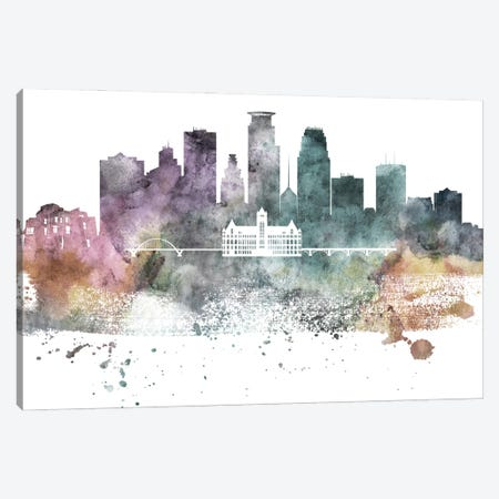 Minneapolis Pastel Skylines Canvas Print #WDA269} by WallDecorAddict Art Print