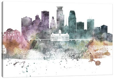 Minneapolis Pastel Skylines Canvas Art Print