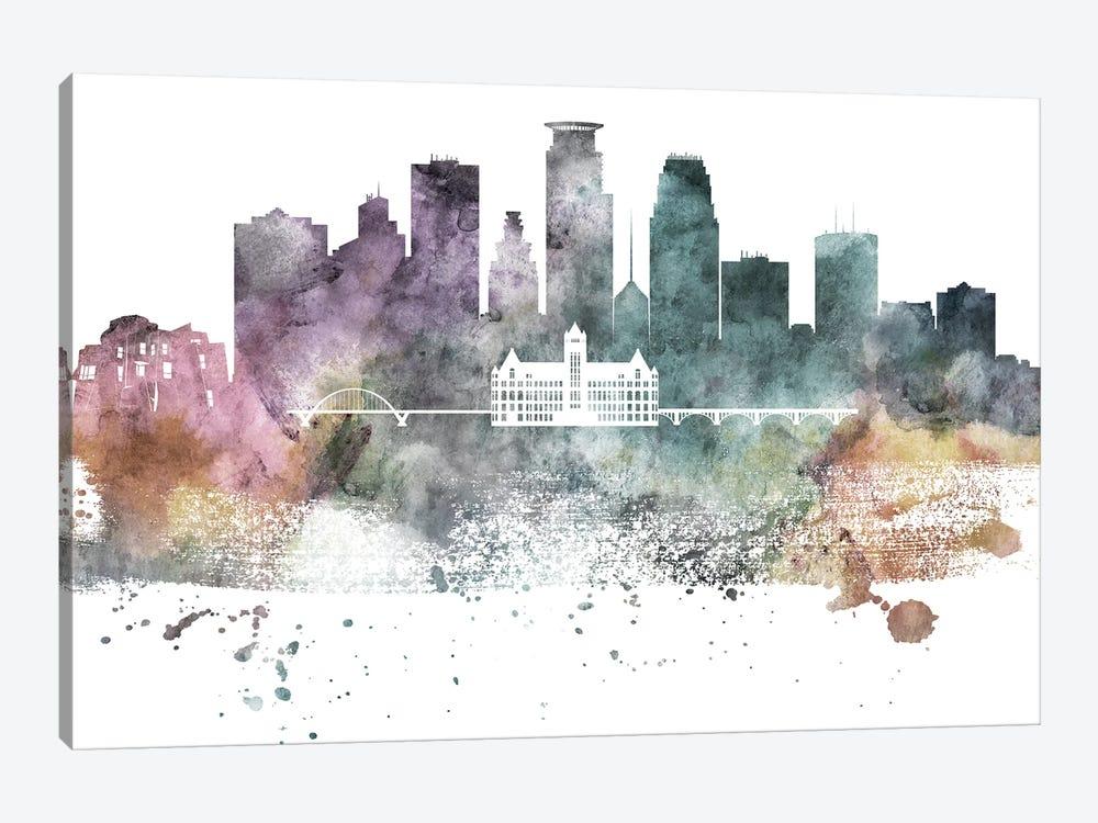 Minneapolis Pastel Skylines by WallDecorAddict 1-piece Art Print