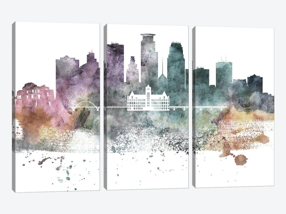 Minneapolis Pastel Skylines by WallDecorAddict 3-piece Canvas Print
