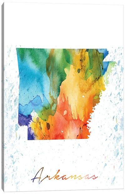 Arkansas State Colorful Canvas Art Print