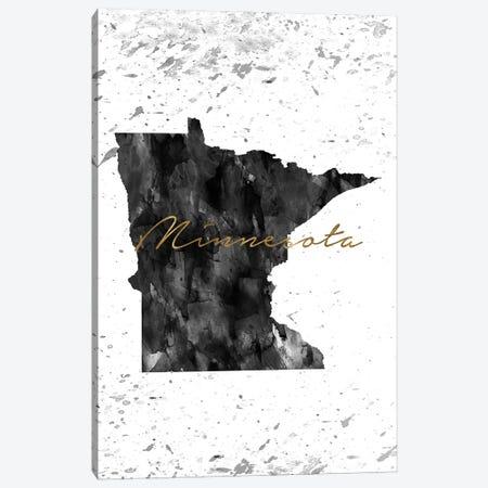 Minnesota Black And White Gold Canvas Print #WDA271} by WallDecorAddict Canvas Art