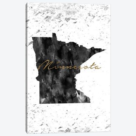 Minnesota Black And White Gold Canvas Print #WDA271} by WallDecorAddict Canvas Art