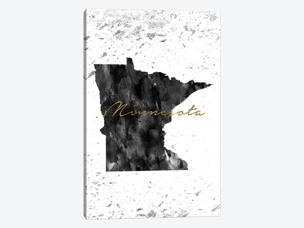 Minnesota Black And White Gold by WallDecorAddict 1-piece Canvas Artwork