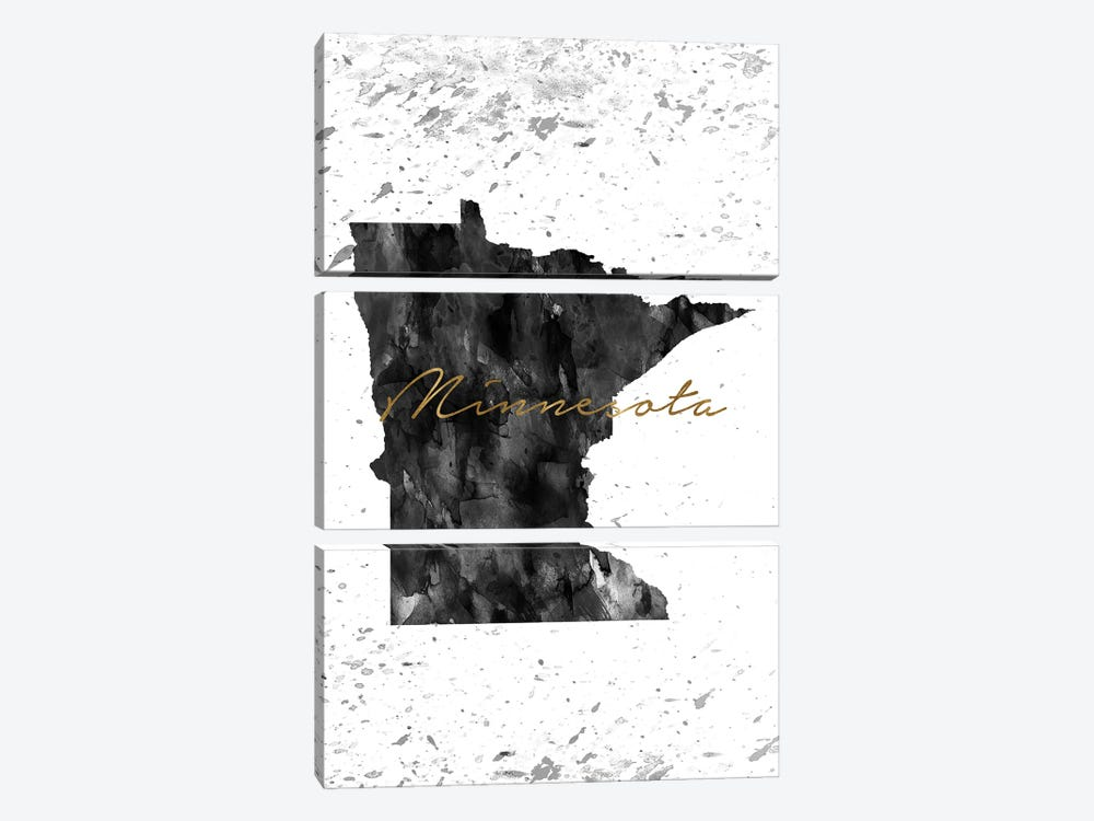 Minnesota Black And White Gold by WallDecorAddict 3-piece Canvas Artwork