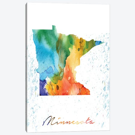 Minnesota State Colorful Canvas Print #WDA272} by WallDecorAddict Canvas Wall Art