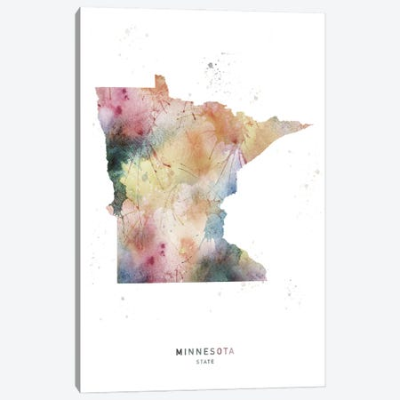 Minnesota State Watercolor Canvas Print #WDA273} by WallDecorAddict Canvas Artwork