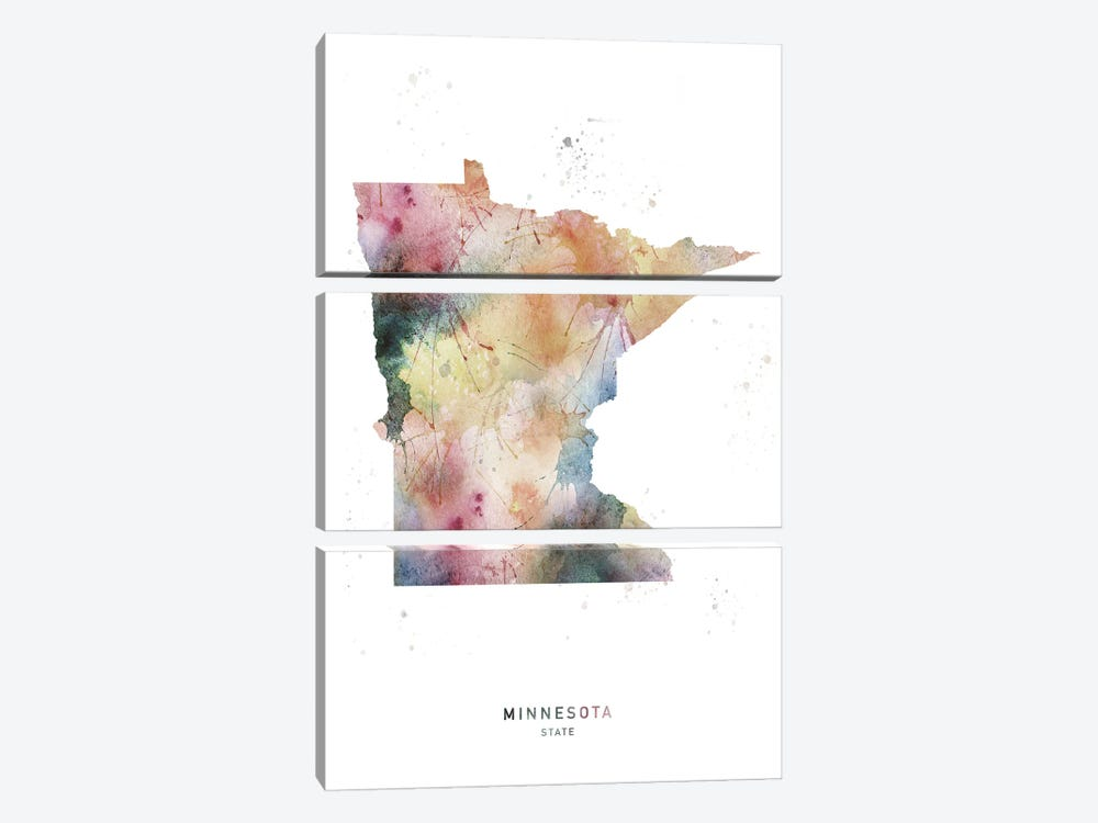 Minnesota State Watercolor by WallDecorAddict 3-piece Canvas Art