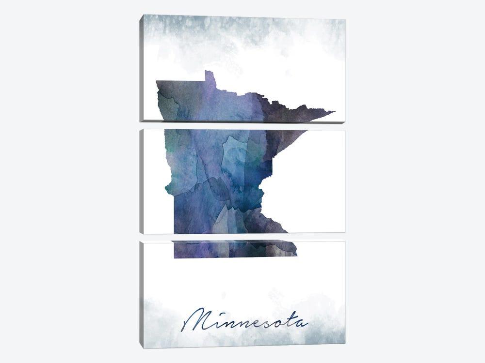 Minnesota Statebluish by WallDecorAddict 3-piece Canvas Art Print