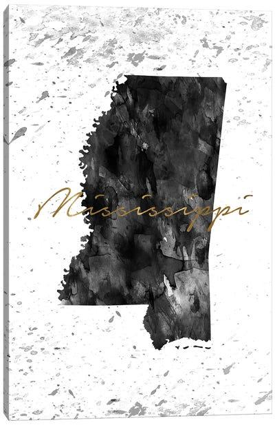 Mississippi Black And White Gold Canvas Art Print