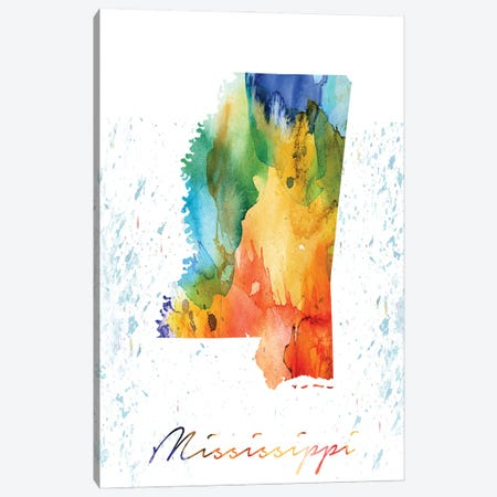Mississippi State Colorful Canvas Print #WDA277} by WallDecorAddict Canvas Print