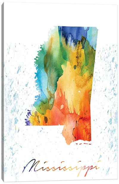 Mississippi State Colorful Canvas Art Print