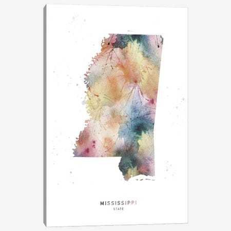 Mississippi State Watercolor Canvas Print #WDA278} by WallDecorAddict Canvas Art