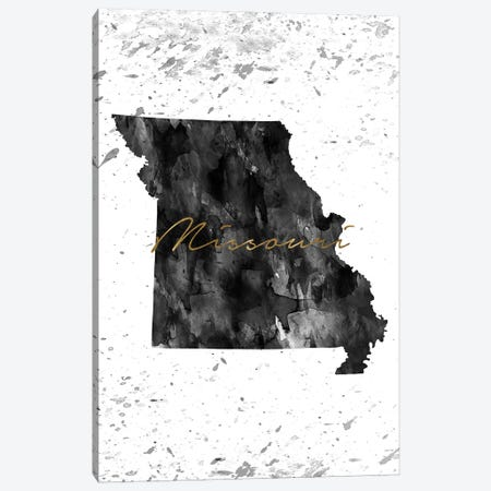 Missouri Black And White Gold Canvas Print #WDA280} by WallDecorAddict Canvas Print