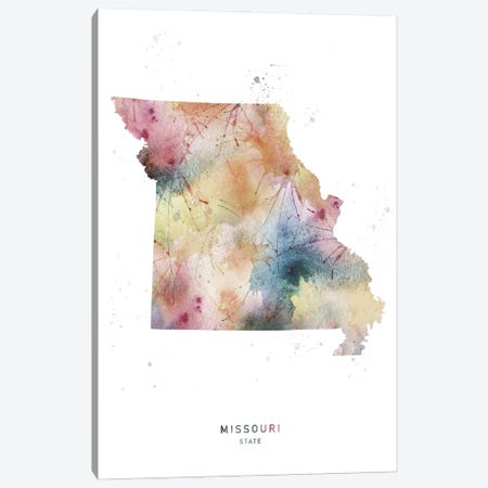 Missouri State Watercolor Canvas Print #WDA283} by WallDecorAddict Canvas Art Print