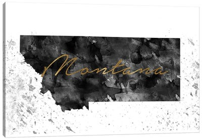 Montana Black And White Gold Canvas Art Print