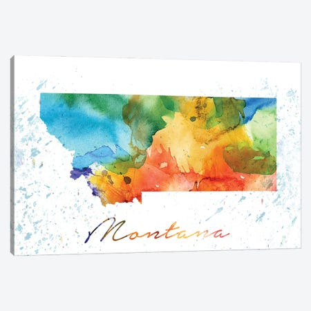 Montana State Colorful Canvas Print #WDA287} by WallDecorAddict Canvas Art