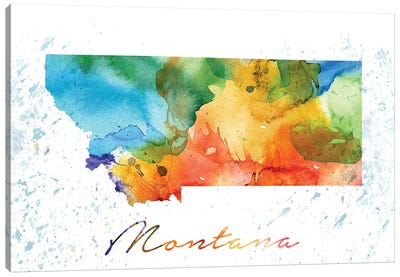 Montana State Colorful Canvas Art Print