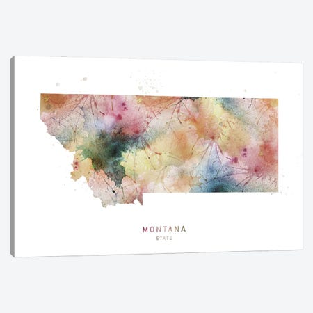 Montana Watercolor State Map Canvas Print #WDA288} by WallDecorAddict Art Print