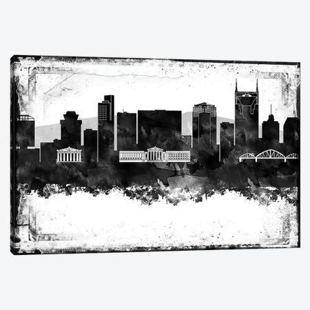 Nashville Black And White Framed Skylines Canvas Print #WDA291} by WallDecorAddict Canvas Wall Art