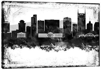 Nashville Black And White Framed Skylines Canvas Art Print