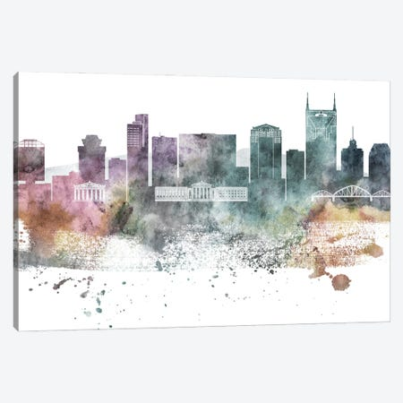Nasville Pastel Skylines Canvas Print #WDA293} by WallDecorAddict Canvas Artwork