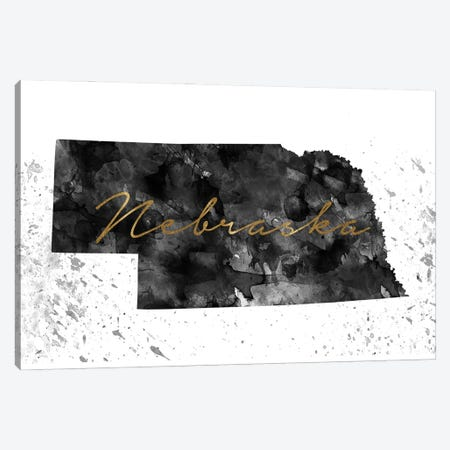 Nebraska Black And White Gold Canvas Print #WDA295} by WallDecorAddict Art Print