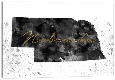 Nebraska Black And White Gold Canvas Art Print
