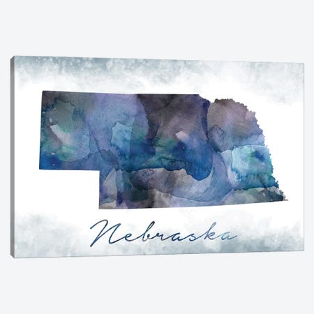 Nebraska State Bluish Canvas Print #WDA296} by WallDecorAddict Art Print
