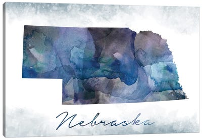 Nebraska State Bluish Canvas Art Print