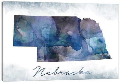 Nebraska State Bluish Canvas Art Print
