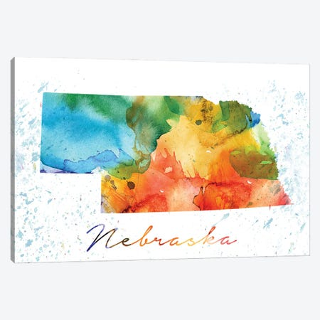 Nebraska State Colorful Canvas Print #WDA297} by WallDecorAddict Art Print
