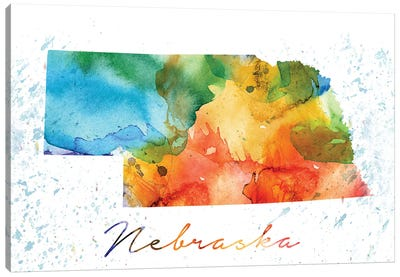 Nebraska State Colorful Canvas Art Print