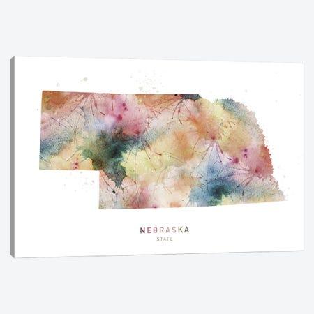 Nebraska Watercolor State Map Canvas Print #WDA298} by WallDecorAddict Canvas Wall Art