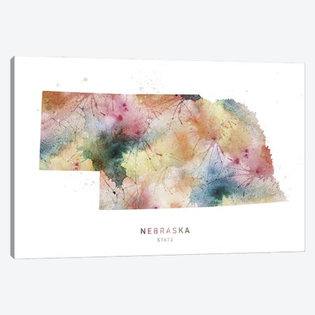 Nebraska Watercolor State Map Canvas Print #WDA298} by WallDecorAddict Canvas Wall Art