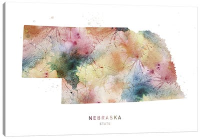 Nebraska Watercolor State Map Canvas Art Print