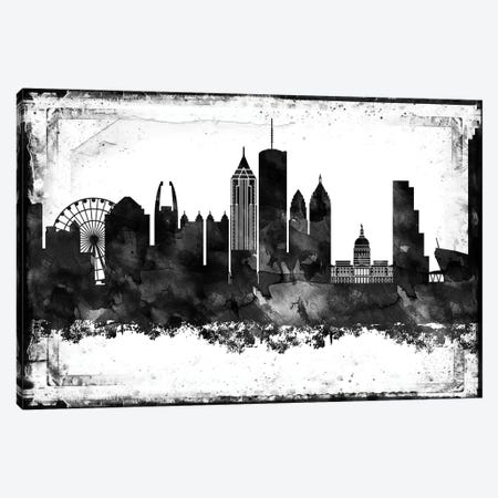 Atlanta Black And White Framed Skylines Canvas Print #WDA29} by WallDecorAddict Canvas Print