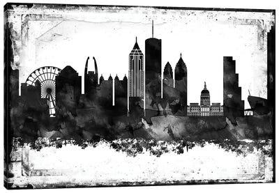 Atlanta Black And White Framed Skylines Canvas Art Print