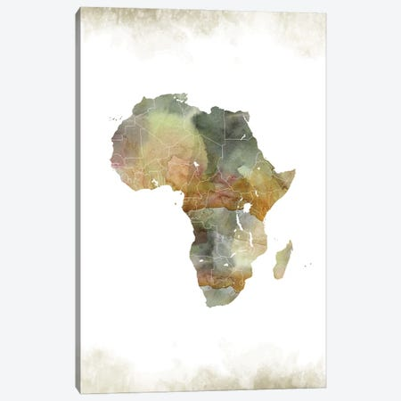 Africa Greenish Map Canvas Print #WDA2} by WallDecorAddict Canvas Wall Art