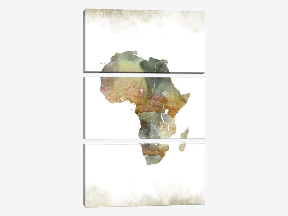 Africa Greenish Map by WallDecorAddict 3-piece Canvas Print