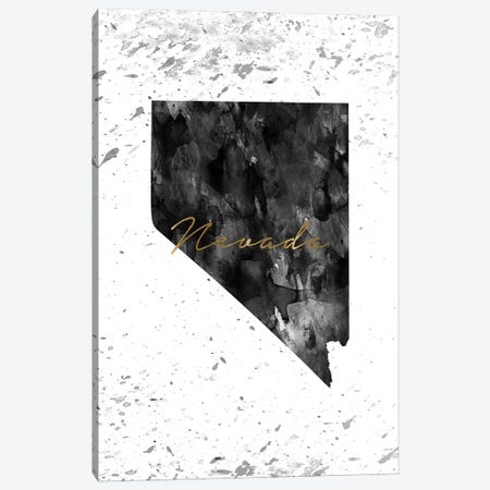 Nevada Black And White Gold Canvas Print #WDA301} by WallDecorAddict Canvas Art