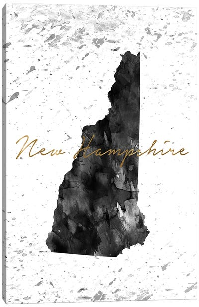 New Hampshire Black And White Gold Canvas Art Print
